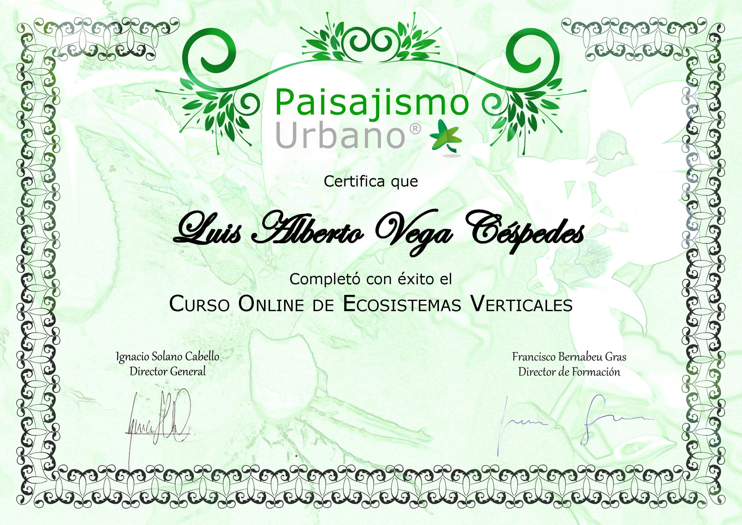 Certificado Curso Online Jardines Verticales Paisajismo Urbano
